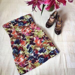 BB Dakota watercolor strapless cotton dress sz 6